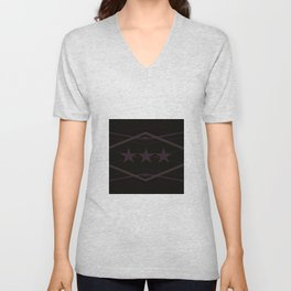 Dark Purple Abstract Star Pattern Unisex V-Neck