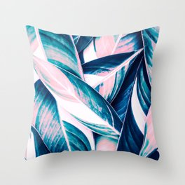 Botanical leaf pink and blue Throw Pillow