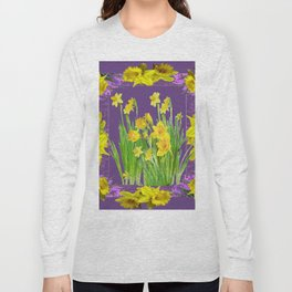 DAFFODIL SPRING GARDEN & PURPLE  DESIGN ART Long Sleeve T-shirt