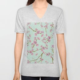 Spring Flowers - Mint and Pink Cherry Blossom Pattern Unisex V-Neck