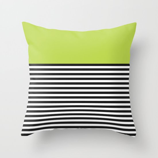 STRIPE COLORBLOCK {LIME} Throw Pillow