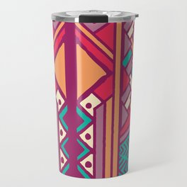 Tribal ethnic geometric pattern 001 Travel Mug