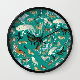 Wolves of the World Green pattern Wall Clock
