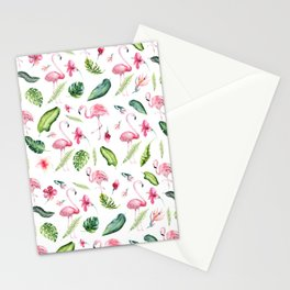 Pink green watercolor tropical hand painted flamingo Stationery Cards