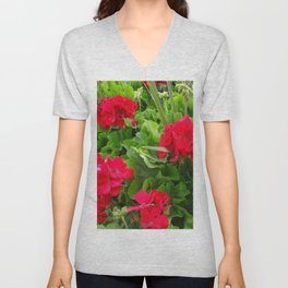RED GERANIUMS GREEN GARDEN Unisex V-Neck
