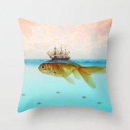 Goldfish Tall Ship Throw Pillow