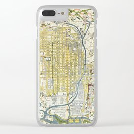 Japanese woodblock map of Kyoto, Japan, 1696 Clear iPhone Case