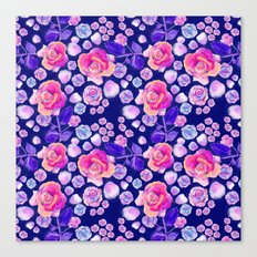 Rosaful rose pattern # Navy Canvas Print