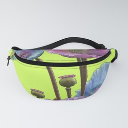 AWESOME PINK & BLUE POPPY GREEN  GARDEN FLOWERS Fanny Pack