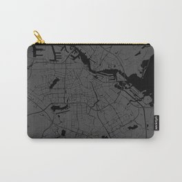 Amsterdam Gray on Black Street Map Carry-All Pouch