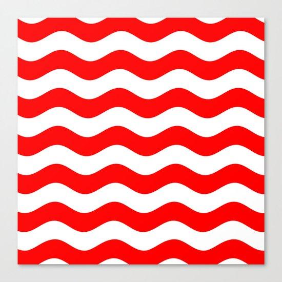 Wavy Stripes (Red/White) Canvas Print