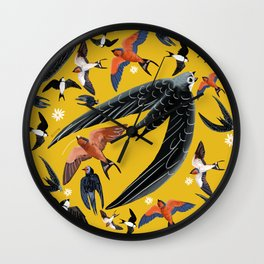 Swallows Martins and Swift pattern Yellow Wall Clock