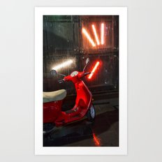 Red Wet Bike Art Print