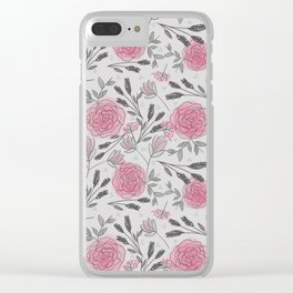 Soft and Sketchy Peonies Clear iPhone Case