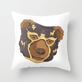 Luchador Bear Throw Pillow