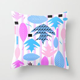 Leaf mix in pink and blue Throw Pillow