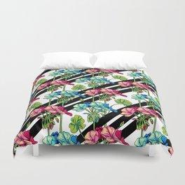 Flowers & Strips Duvet Cover