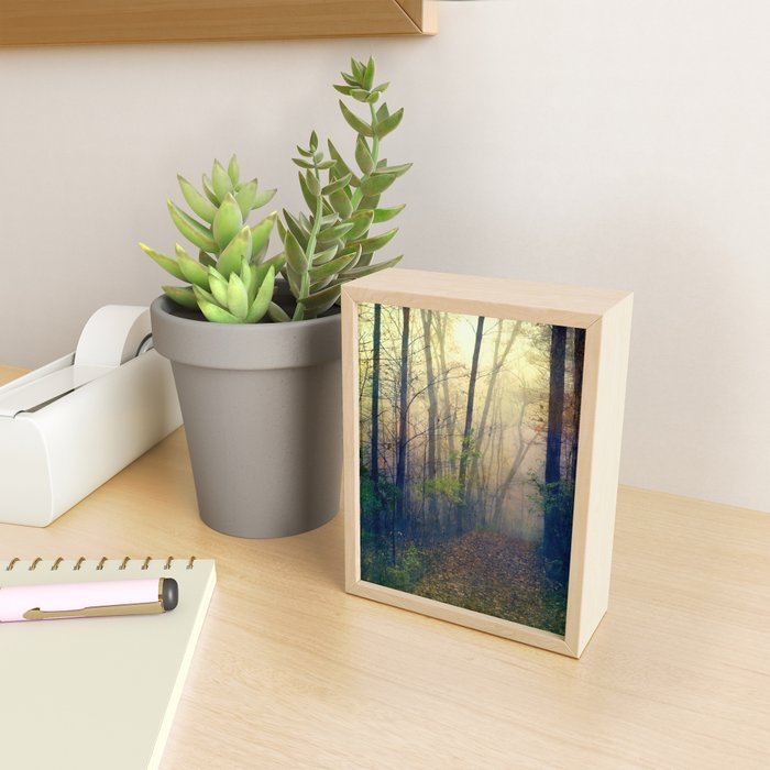 Wandering in a Foggy Woodland Framed Mini Art Print