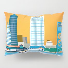 Jacksonville, Florida - Skyline Illustration by Loose Petals Pillow Sham