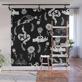 Linocut snakes hand rose floral black and white spooky gothic pattern Wall Mural
