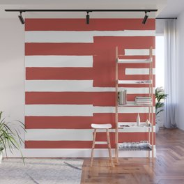 Big Stripes In Red Wall Mural