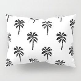 Palm Tree linocut minimal tropical black and white decor Pillow Sham