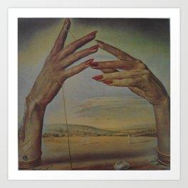 PORTRAIT OF A PASSIONATE WOMAN  (The Hands)  by Salvador Dali Art Print