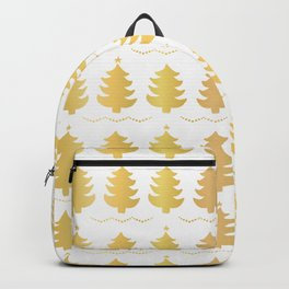 Luxe Gold Christmas Trees Pattern, Seamless Vector Background, Drawn Backpack