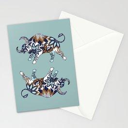 Ox Paisley (Blue-Grey Palette) Stationery Cards