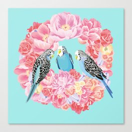 Birds of Paradise Parakeets Blue budgie Pink Peonies Flowers Wreath Canvas Print