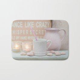 Pastel Pink Scandi-chic Still Life Bath Mat