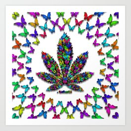 Butterflies Cannabis Leaf 2 Art Print