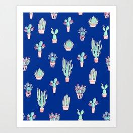 Little cactus pattern - Princess Blue Art Print