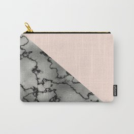 Peach and silver marble metallic Carry-All Pouch