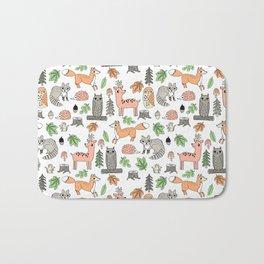 Woodland foxes rabbits deer owls forest animals cute pattern by andrea lauren Bath Mat