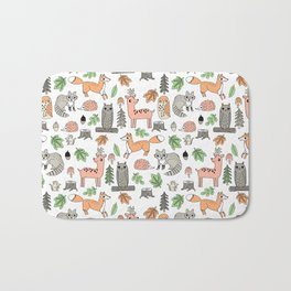 Woodland foxes rabbits deer owls forest animals cute pattern by andrea lauren Bath Mat