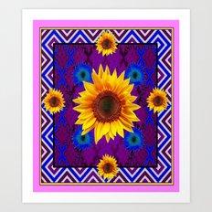 Western  Purple Geometric Yellow Sunflowers Pattern Art  Art Print