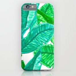 Tropical Banana Leaf Sketches in White iPhone Case