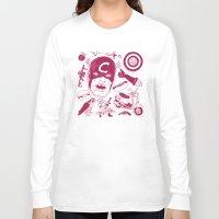 superheros Long Sleeve T-shirts featuring Craptain America by Josh Ln