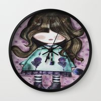 girly Wall Clocks featuring girly by norjene