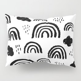 Black and white rainbow clouds Pillow Sham