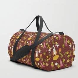 Astronauts in Space with Florals - Maroon Duffle Bag