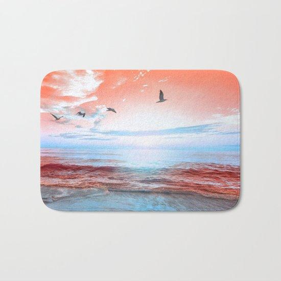 The Orange Sunrise in Sea Side Bath Mat