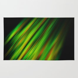 Colorful neon green brush strokes on dark gray Rug