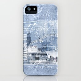 Harbor City Hamburg Germany mixed media Art iPhone Case