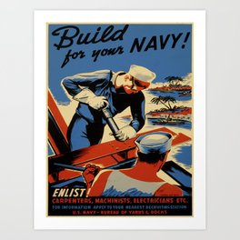 Vintage poster - Build for your Navy! Art Print