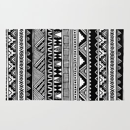 Black White Cute Girly Urban Tribal Aztec Andes Abstract Geometric Hand-drawn Pattern Rug
