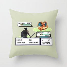 Dovahkiin vs Charizard Throw Pillow