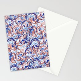 Vintage Lace Watercolor Blue Rust Stationery Cards
