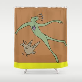 swimming in the air Shower Curtain